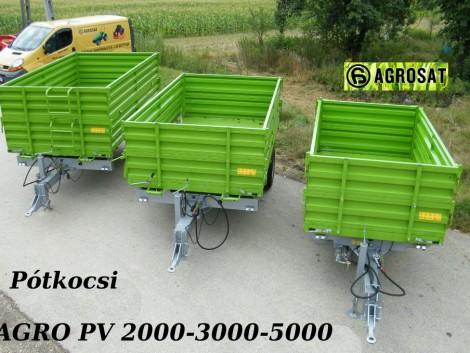 Pótkocsi 2t légfékes három oldalra billenős oldalmagasítós , 25-40 LE traktorra fotó