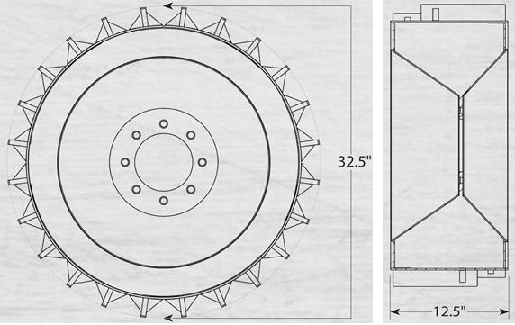 """A 12x16.5"""" felni helyére illeszthető acélkerék méretei"""