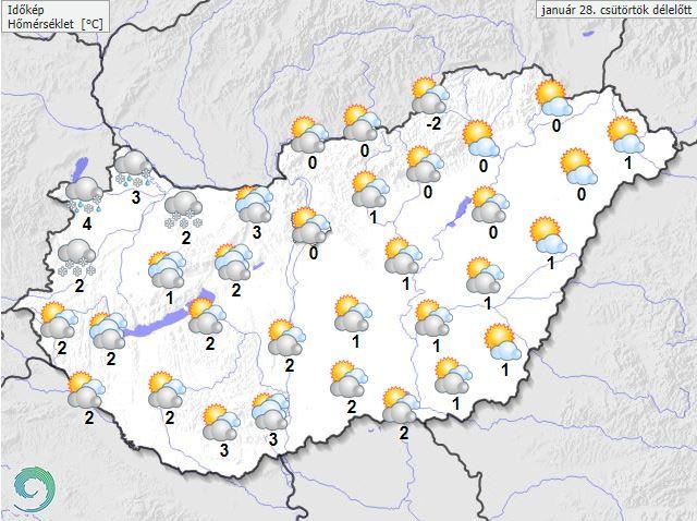 Friss időjárás előrejelzés 2021-01-28 Csütörtök