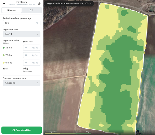 Differenciált tápanyag-kijuttatási zónák és a hozzá tartozó beállítások