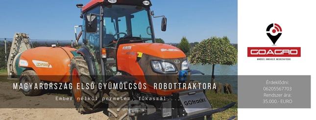 traktor gyümölcs ültetvényben