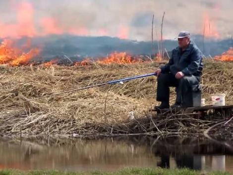 Kigyulladt körülötte a nádas, de ez nem zavarta a horgászt – videó