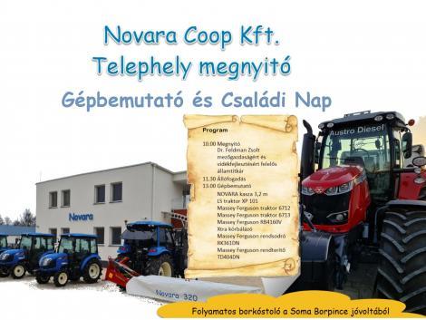 Gépbemutató, telephelymegnyitó és pályázati tanácsadás a Novara Coop-pal!