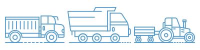 teherautó, billenőplatós autó és traktor