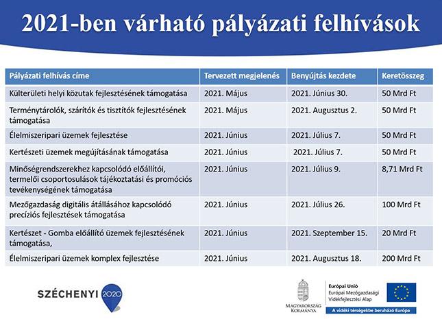 2021-ben várható pályázati felhívások megjelenése és keretösszege