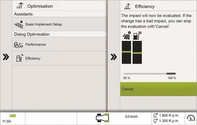 CEMOS képernyőkép: optimalizálás munka közben