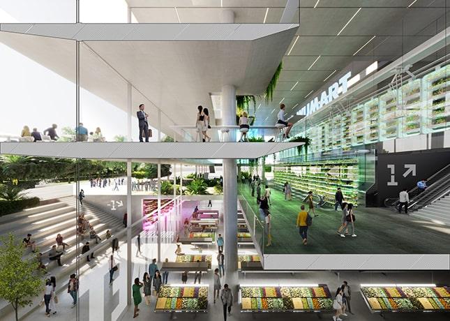 Az épületben szupermarket, lakóirodák és kültéri étkezőterasz is üzemel