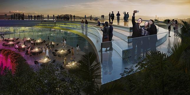 A teraszkertek magasak és harmonikusan illeszkednek a belső terekhez