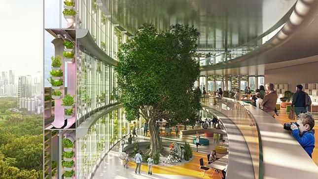 Az épület felületén található zöld növényzet árnyékolásra is jó