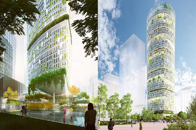 felhőkarcoló növénytermesztéssel, városi kertészet