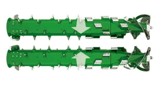 kétrotoros technológia a John Deere betakarító gépben