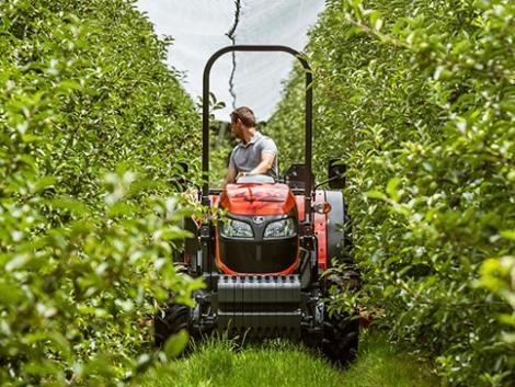 Szűk gyümölcsös sorokban is ügyeskedik a Kubota keskeny nyomtávú traktora